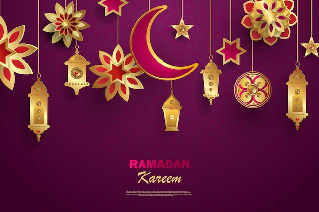 Рамадан карим концепция баннер с исламскими геометрическими узорами.