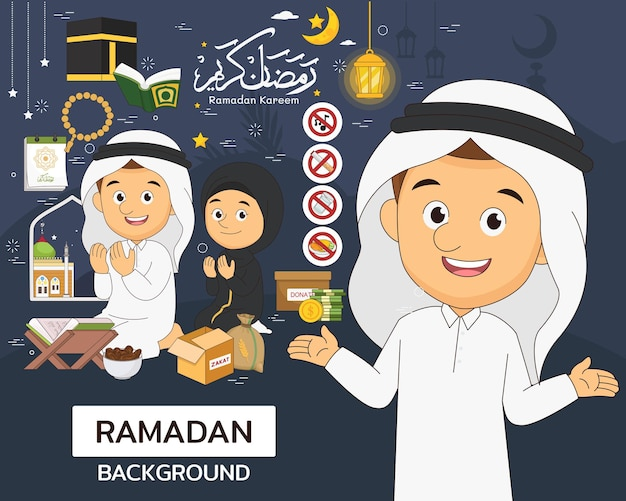 Рамадан карим концепция. плоские значки.