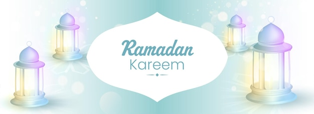 Ramadan kareem concept with 3d gradient lit lanterns on white and blue bokeh background.