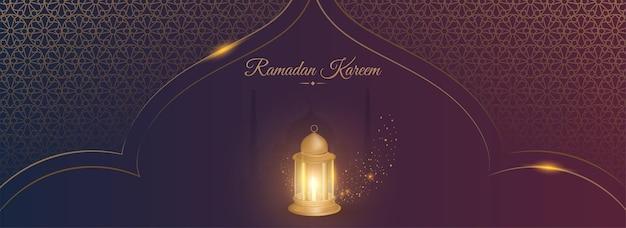 Ramadan kareem concept with 3d lit lantern on purple and golden islamic pattern background.