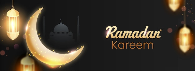 Ramadan kareem concept with shiny golden crescent moon and lit lanterns hang on black silhouette mosque background.