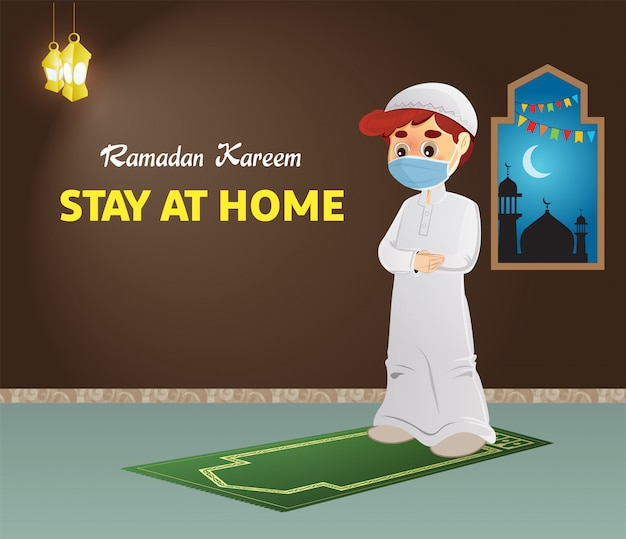 Ramadan kareem coronavirus greeting, stay at home