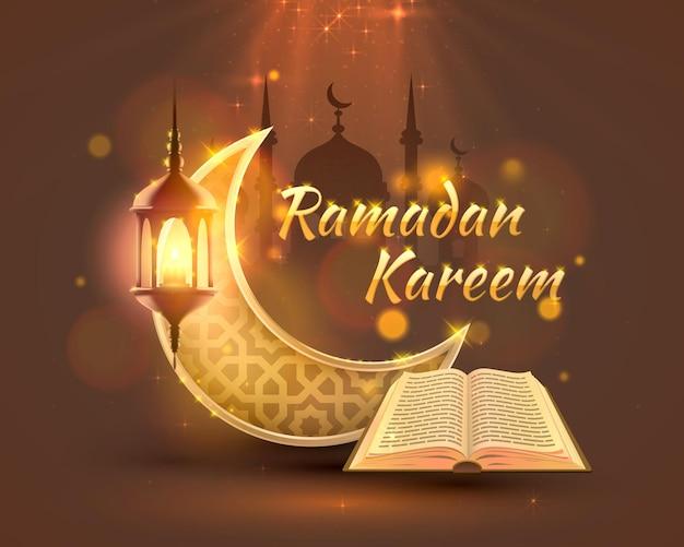 Ramadan kareem cover, arabic holiday, template design element, vector illustration