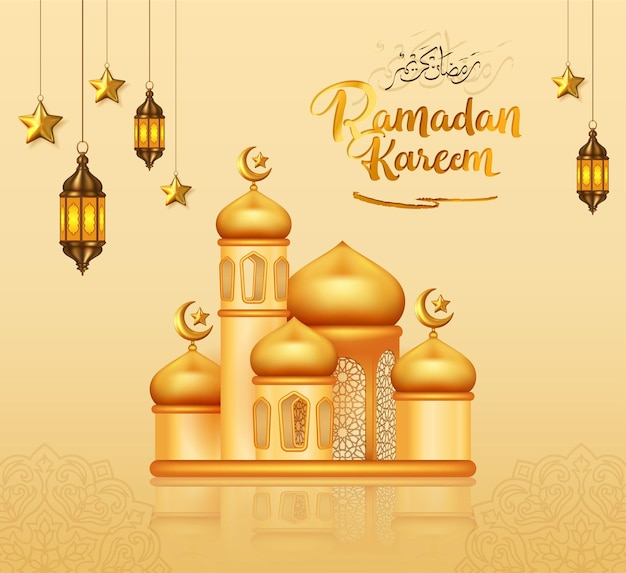 3dゴールドモスクのラマダンカリーム装飾デザイン