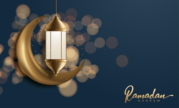 Ramadan kareem decorative moon with hanging lamps