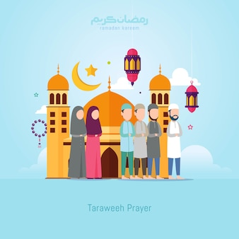 Ramadan kareem design concept with small people