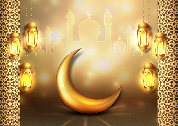 Рамадан карим дизайн. золотые подвесные фонари рамадан.
