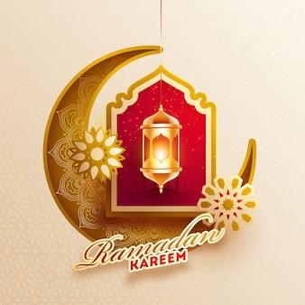 Ramadan kareem design with brown ornamental crescent moon