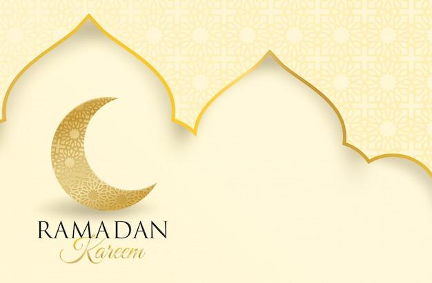 Ramadan kareem. design with moon, lantern golden, light and shadow