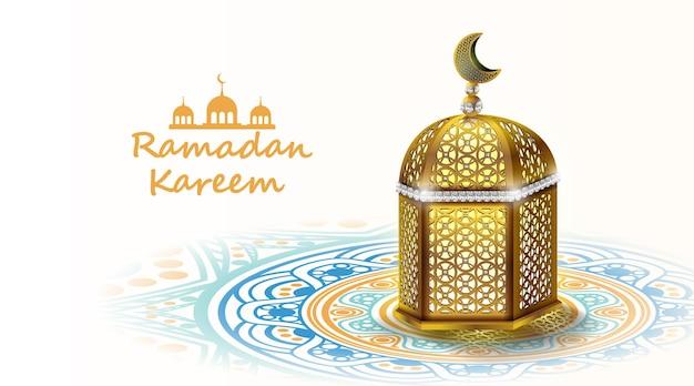 Рамадан карим дизайн с мечетью и поздравительной открыткой с лунным светом