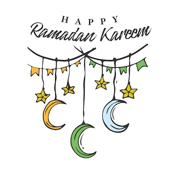 Ramadan kareem doodle banner with hanging star & crescent