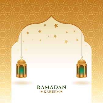 Ramadan kareem and eid mubarak golden greeting card