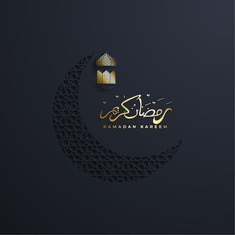 Ramadan kareem or eid mubarak greeting card islamic with gold patterned on paper color background