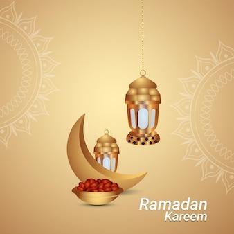 Ramadan kareem or eid mubarak islamic festival celebration greeting card