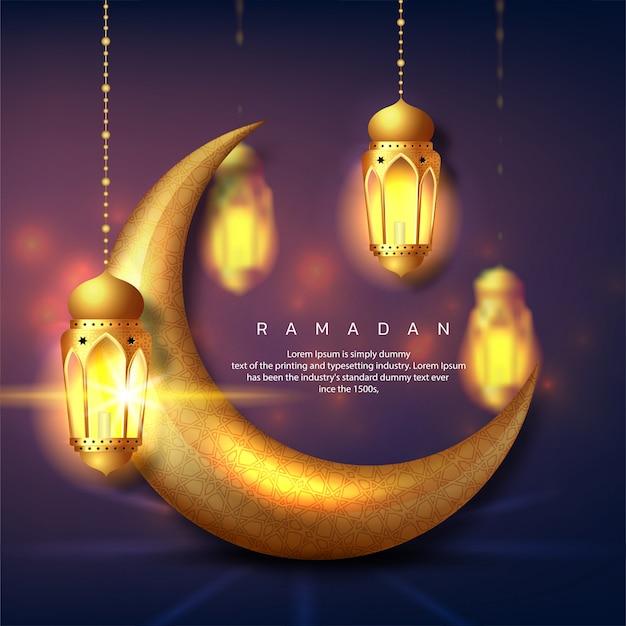 Ramadan kareem or eid mubarak islamic greeting card design with gold lantern and crescent moon