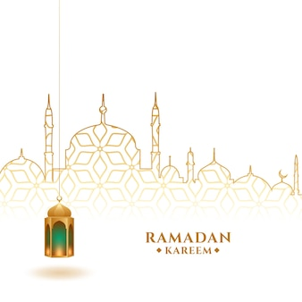 Ramadan kareem festival background with lantern and mosque
