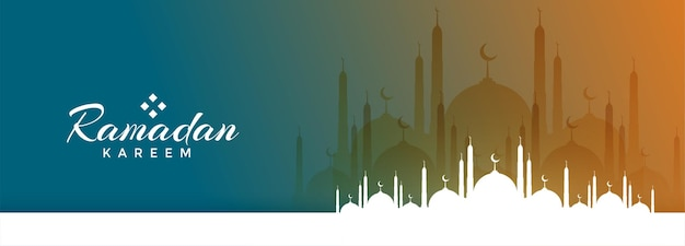 Ramadan kareem festival banner with mosque design