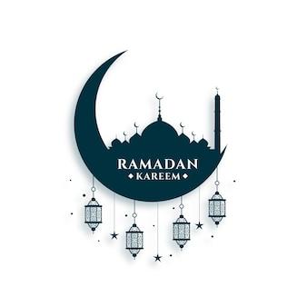 Ramadan kareem festival card design Free Vector