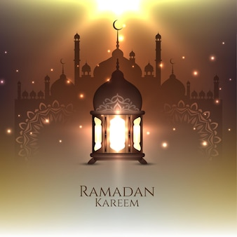 Ramadan kareem festival card with glowing lantern