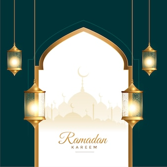 Ramadan kareem festival card with lantern decoration