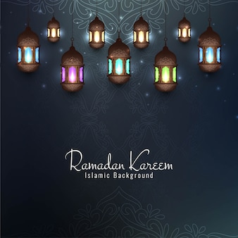 Ramadan kareem festival decorative card with lanterns