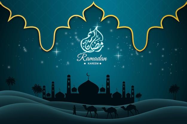 Рамадан карим плоский фон цвета зеленый и черный