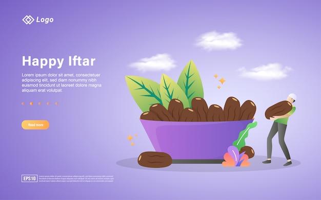 Ramadan kareem flat landing page template