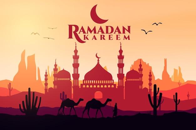 Рамадан карим плоский пейзаж мечеть десерт арабский верблюд