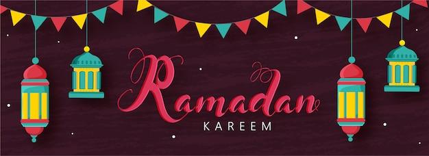 Ramadan kareem font with hanging arabic lanterns and bunting flags