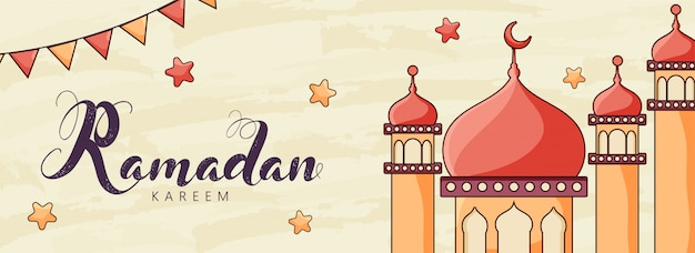 Ramadan kareem font with mosque, stars and bunting flags