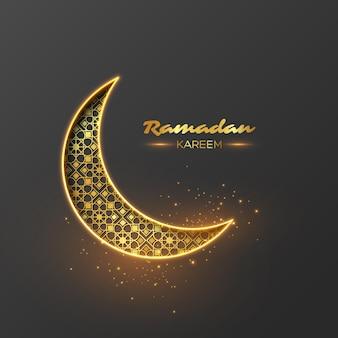 Ramadan kareem glitter holiday design with glowing lights.