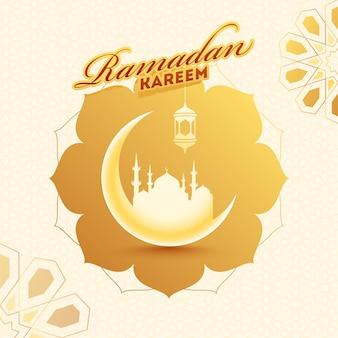 Ramadan kareem glossy crescent moon with mosque on arabic style