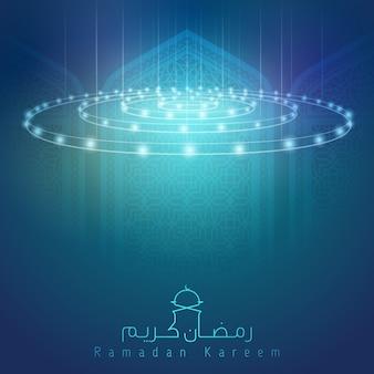 Ramadan kareem glow lamp mosque interior background