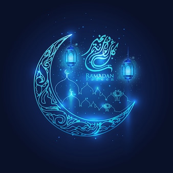 Ramadan kareem glowing arabic lanterns, moon and stars islamic crescent