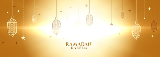 Ramadan kareem glowing banner with lamps decoration