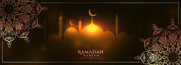 Banner incandescente di ramadan kareem con decorazione mandala