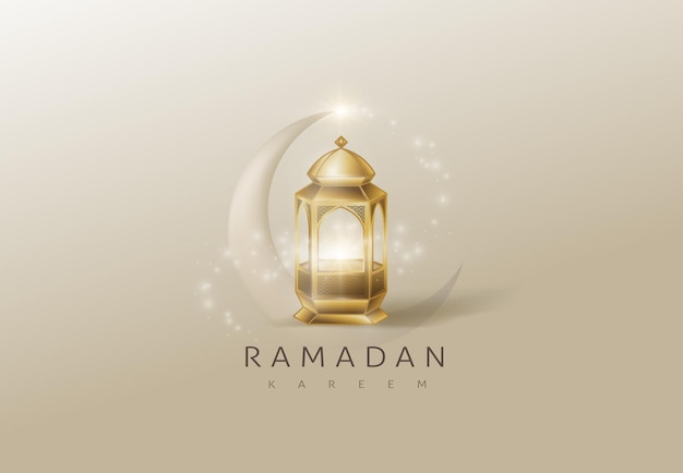 Ramadan kareem glowing gold arabic lamp card