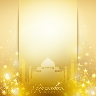 Ramadan Kareem gold glow mosque dome for greeting background
