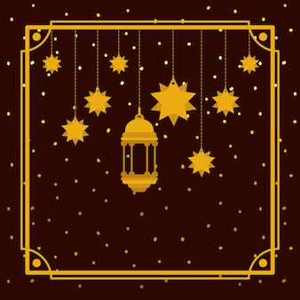 Ramadan kareem golden frame with lamp and stars hanging