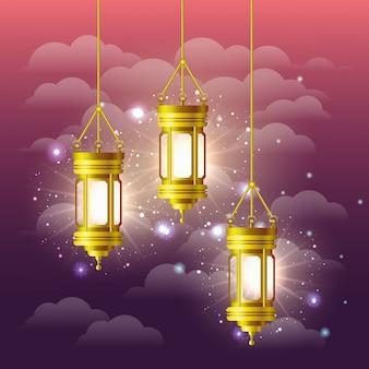 Ramadan kareem golden lamps hanging