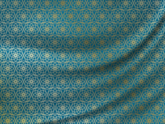Ramadan kareem. golden oriental pattern on wavy silk fabric.
