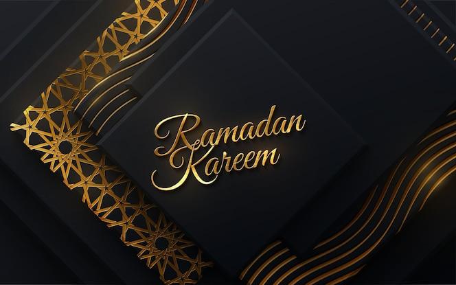 Segno d'oro ramadan kareem su forme geometriche sfondo nero e tradizionale motivo girih dorato
