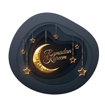Рамадан карим золотой знак с полумесяцем и висящими звездами