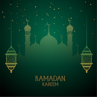 Ramadan kareem green wishes greeting