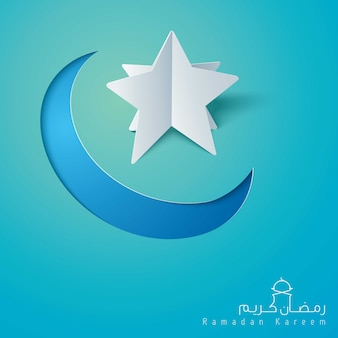 Ramadan kareem greeting background islamic star and crescent icon