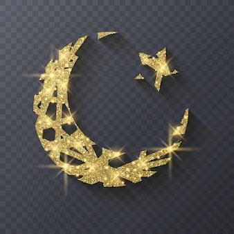 Ramadan kareem greeting background islamic symbol crescent  glitter