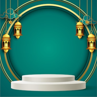 Ramadan kareem greeting background in paper style with podium