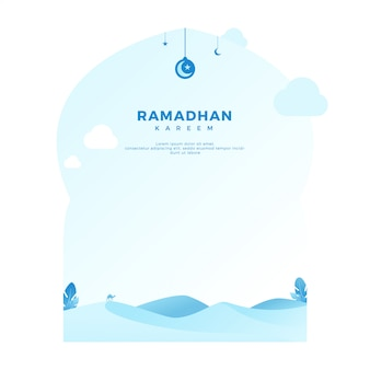 Ramadan kareem greeting background with desert in minimalist light blue color