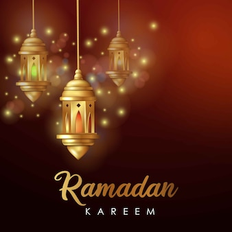 Ramadan kareem greeting on blurred background with beautiful arabic lamp and calligraphy lettering