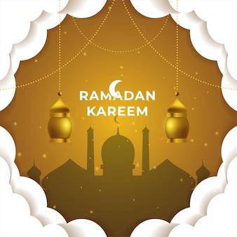 Рамадан карим фон поздравительной открытки